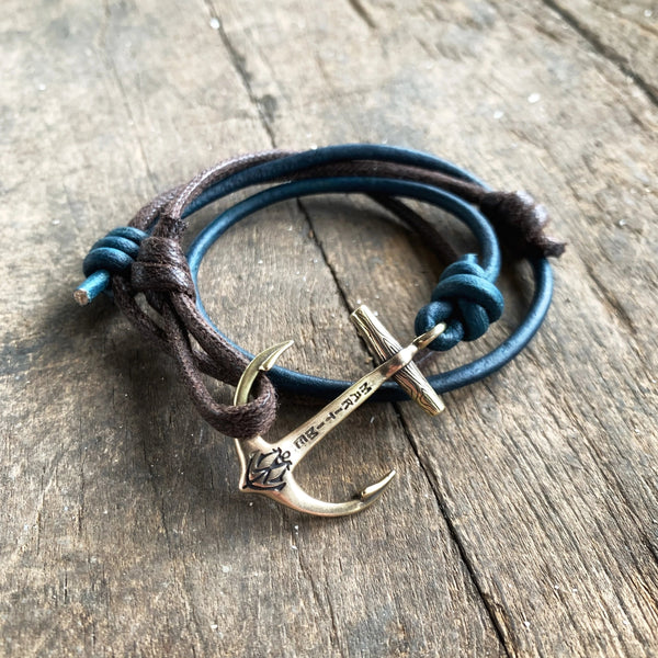 Brass Maritime Anchor Bracelet - Hand Waxed Cord with Blue Leather Cord