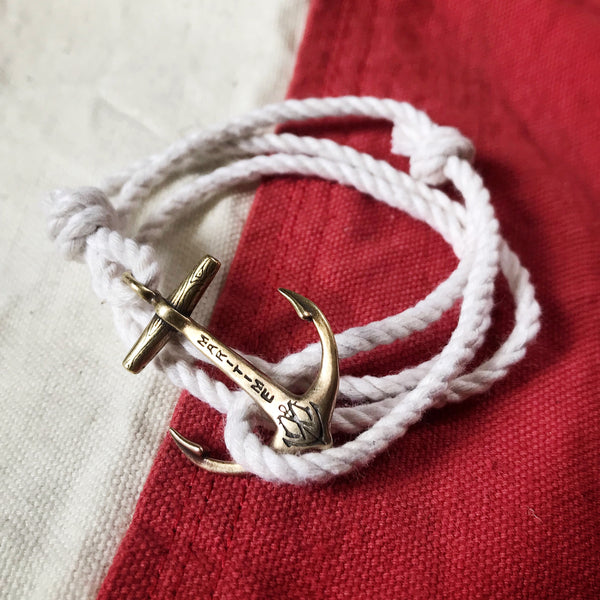 Brass Anchor Bracelet - Cotton Nautical Rope