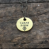 "CARPE DIEM Brass Coin Necklace - ""Seize the Day"""