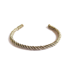 Thin Twisted Rope Cuff - Yellow Brass - Maritime Supply Co