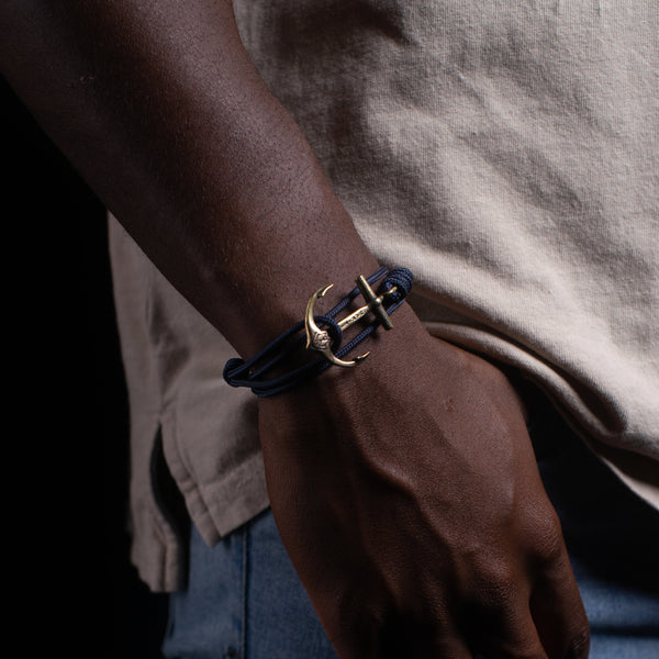 Brass Anchor Bracelet - Navy Blue Mil Spec Cord