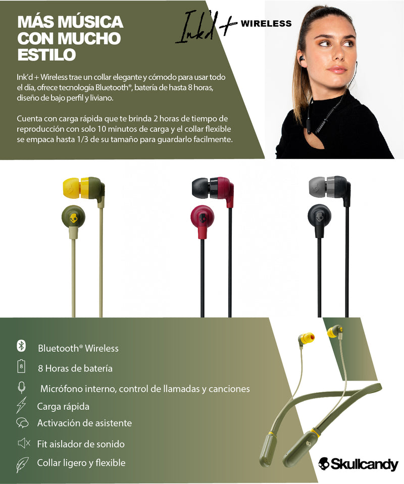 SKULLCANDY INKD + WIRELESS AUDÍFONOS INALÁMBRICOS VERDE
