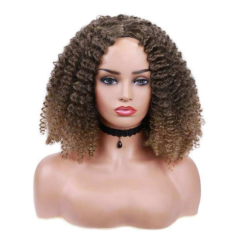 Wignee Short Hair Ombre Brown Kinky Curly Synthetic Wigs for Black Women Natural Afro Fake African Hairstyle Fiber Daily Wig