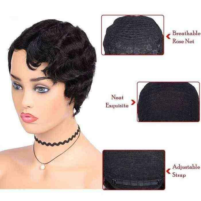 human hair wig-finger wave wig-5