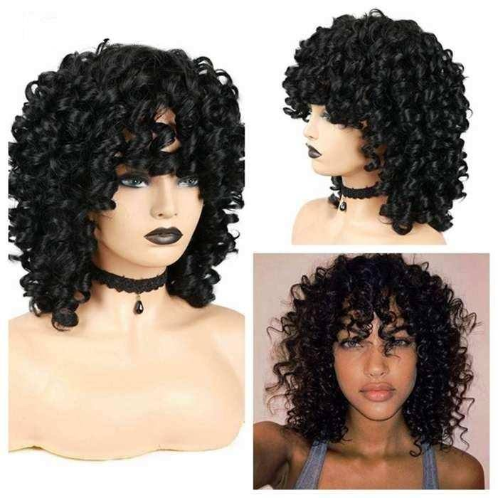 Wignee Short Black Afro Curly Synthetic Wigs For Black Women Heat Resistant Cosplay African Hairstyles Wigs Fiber Hair Wig