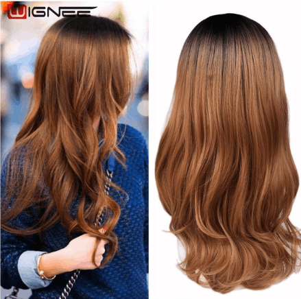 Long Synthetic Wavy Wigs Ombre Brown Blonde Heat Resistant Fiber Hair For Black/White Women Cosplay/Party