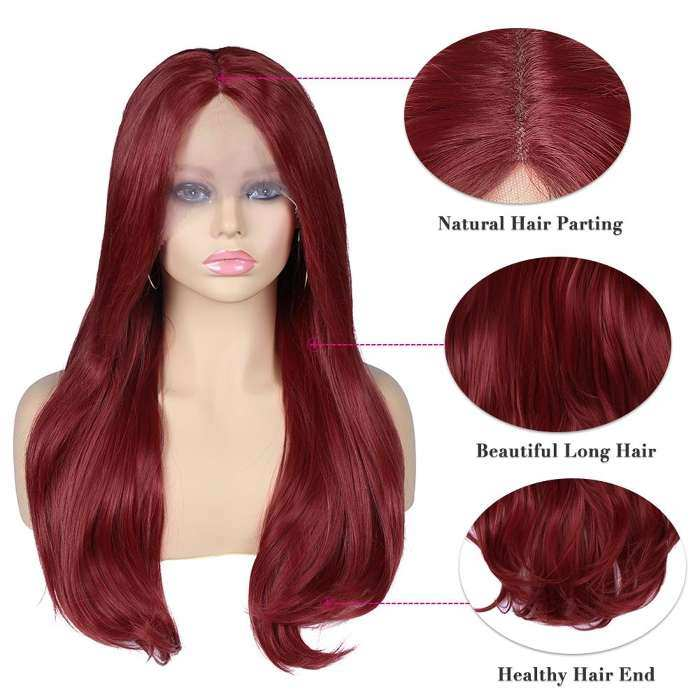 Wignee Premium Long Synthetic Lace Front Wig Red Body Wave Lace Middle Part Heat Resistant Cosplay Hair Wigs For Women