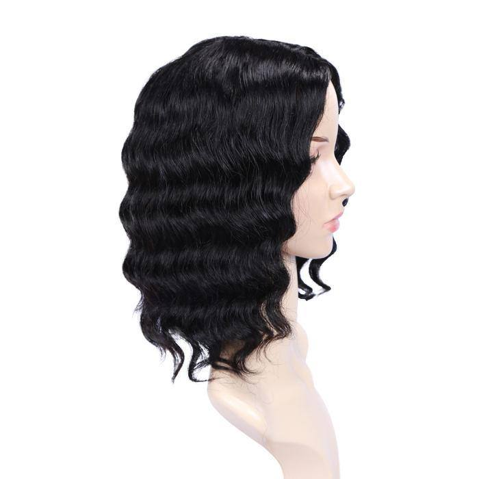 wignee side part  human hair  non lace wig 10-18 inches natural black Loose Wave party wig