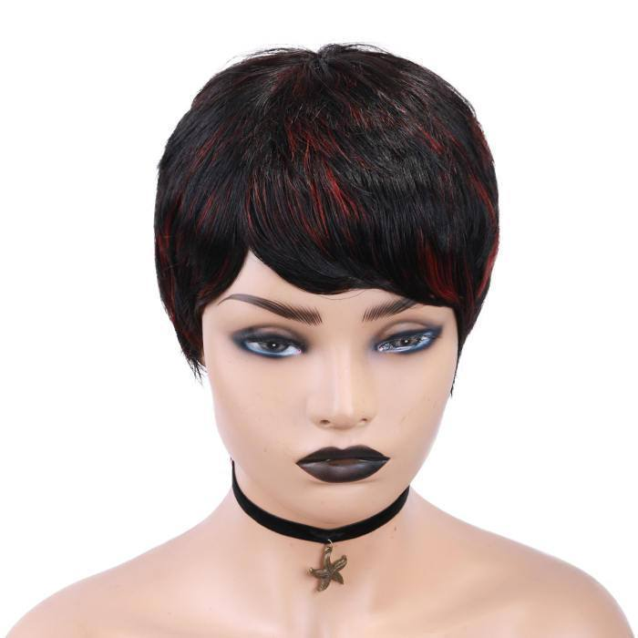 wignee color mixing hair   human hair  u part wig 4-10 inches multiple color Daily wig