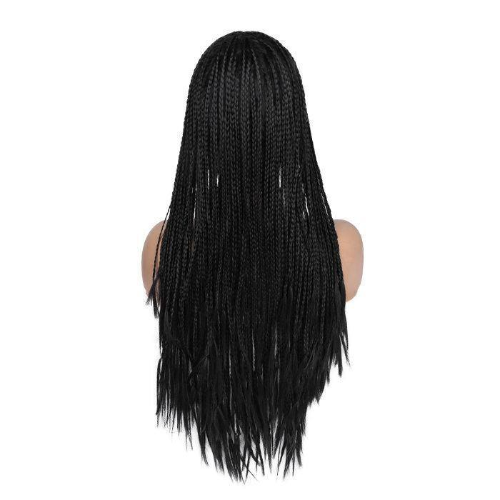 wignee center part  Synthetic hair 2*4 lace front wig  inches natural black Straight party wig