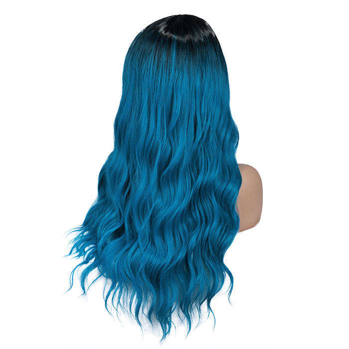 Wignee Long Wavy Blue Fiber Synthetic Wigs Middle Part Heat Resistant for Women Natural Hair Daily/Party/Cosplay Party Wigs