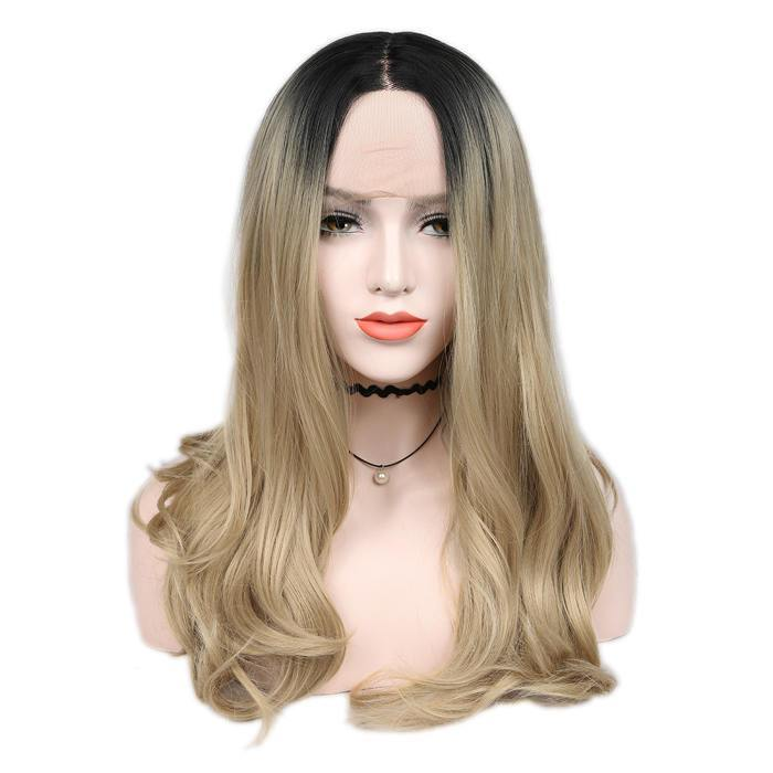 wignee middle part  Synthetic hair 2*4 L part wig 18-26 inches natural black Body Wave Daily wig
