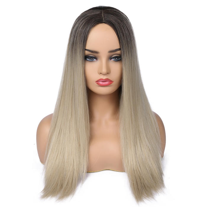 Wignee Long Straight Hair Middle Part  Synthetic Wig For Women Ombre Baby Ash Blonde/Pink/Red/Brown/Blue Natural Hair Female Wig