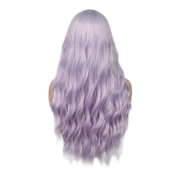 wignee middle part  Synthetic hair  non lace wig 26 inches purple Body Wave party wig
