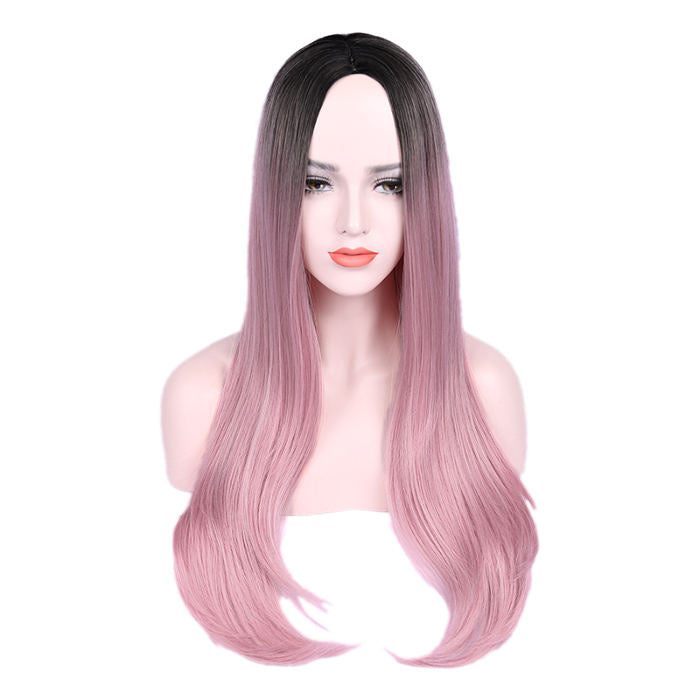 WIGNEE Ombre Wig Black To Blue Silky Straight High Density Heat Resistant Synthetic Hair Full Wigs For Women