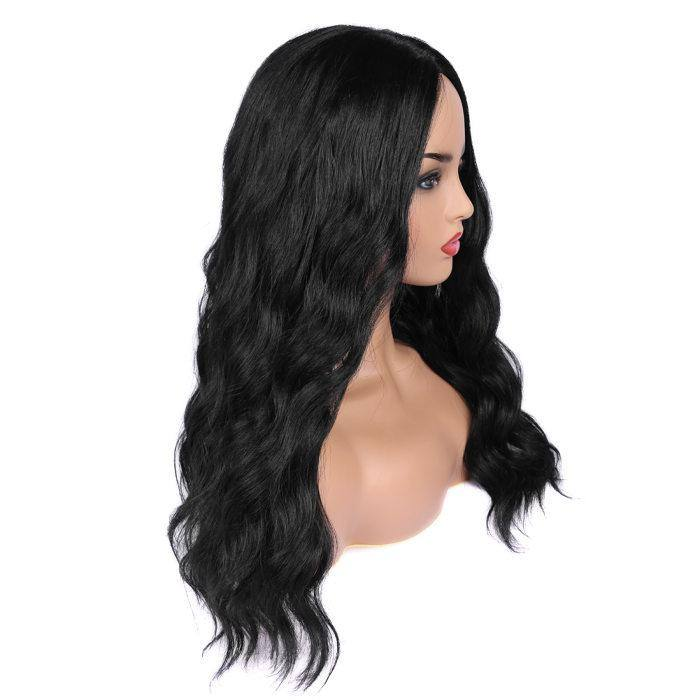 wignee middle part  Synthetic hair  non lace wig  inches natural black Straight party wig