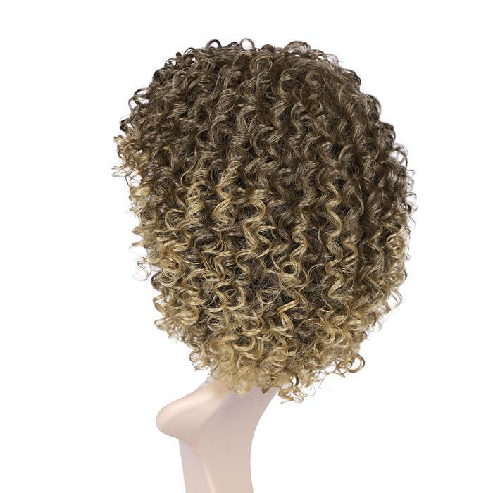 wignee Ombre   Synthetic hair  non lace wig 16 inches brown Afro Curl Daily wig