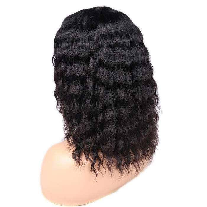 Wignee Short Deep Wave Human Hair Wig For Black Women Brazilian Remy Hair Wig Middle Part High Density Hand Made Curly Human Wig