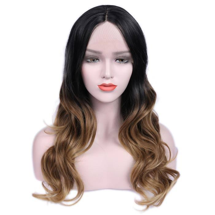 wignee center part  Synthetic hair 2*4 lace front wig 26 inches natural black Body Wave Daily wig