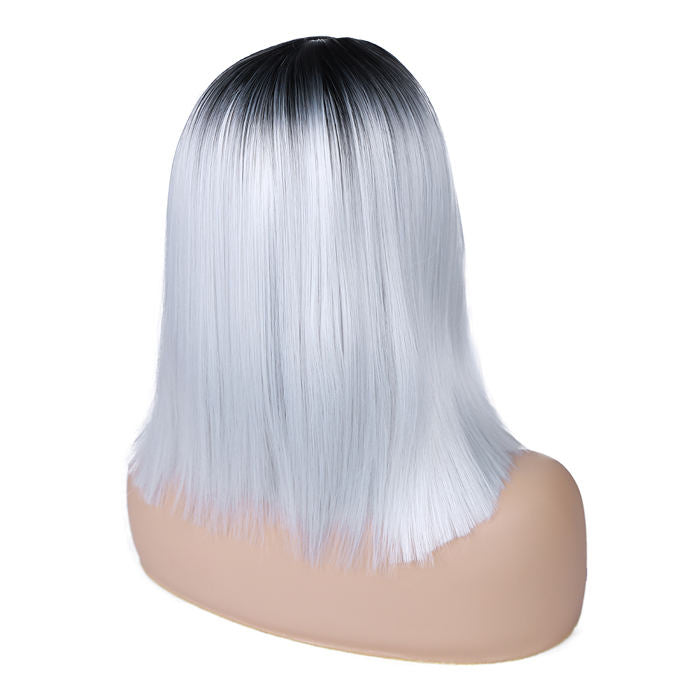 Wignee Ombre Wig Shoulder Length Straight Bob Black Grey Middle Part Heat Resistant Fiber Synthetic Cosplay Party Wigs For Women