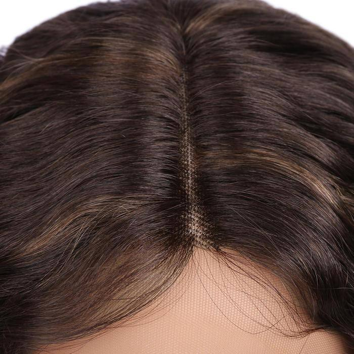Wignee Brazilian virgin human hair lace front wig mix color 150%density water Wave wig