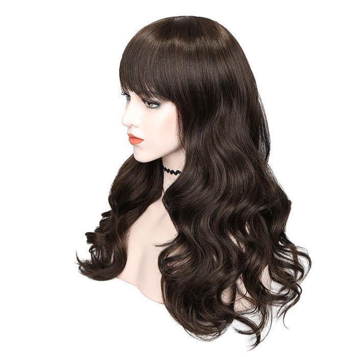 wignee fringe/bangs  Synthetic hair  non lace wig 26 inches 30# Body Wave party wig
