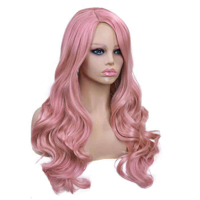 Long Synthetic Wavy Wigs Pink Color Heat Resistant Fiber Hair For Black/White Women Cosplay/Party