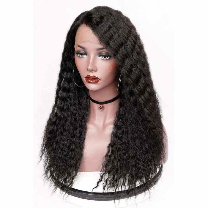 Wignee L part deep wave virgin human hair lace wig long deep wave side part  wig