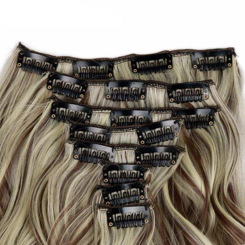 Wignee 8pcs/set Long Wavy For Women High Grey Temperature Synthetic Hair Natural Cosplay  Hairpieces  Clip In Hair Extension