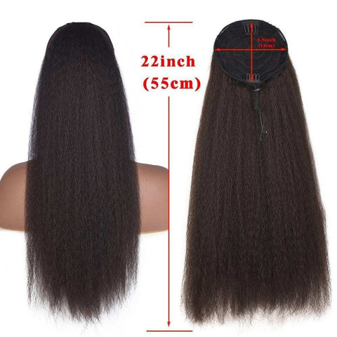 Wignee Kinky Straight Hair Afro Ponytail Extension For Women Long Hair With Combs Natural Black/Brown Synthetic Wig Hair Bundles
