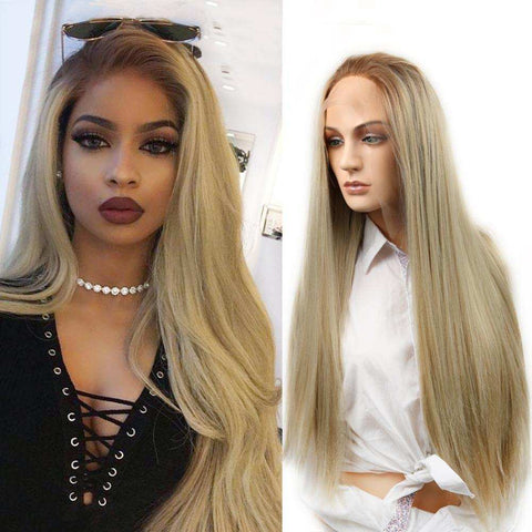 Wignee Long Straight Hair Lace Front Synthetic Wig For Women Heat Resistant Ombre Blonde Natural Hair Cosplay Glueless Fake Wigs