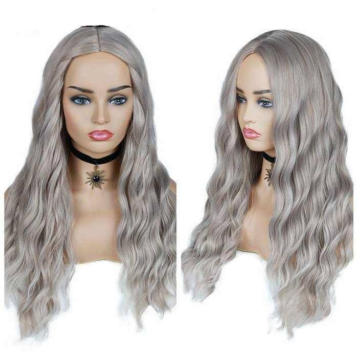Wignee Ombre Long Wavy Heat Resistant Synthetic Wig For Black/White WomenBrown Blonde/Grey  American Cosplay/Party Hair Wigs