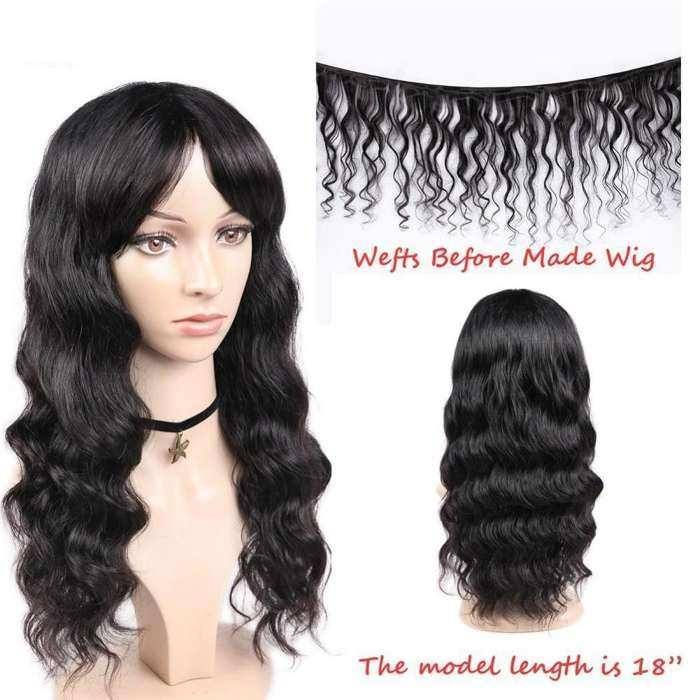 Wignee Remy Brazilian Human Hair Wigs With Free Bangs for Black/White Women Glueless Hair Loose Deep Wave Human Wig For Africans