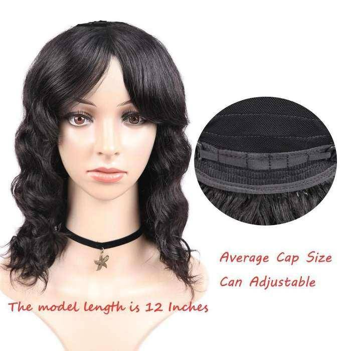 Wignee Remy Brazilian Human Hair Wigs With Free Bangs for Black/White Women Glueless Hair Loose Deep Wave Human Wig
