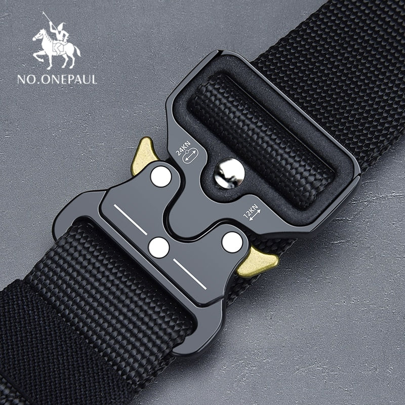 NO.ONEPAUL Tactical belt Military high quality Nylon men's training belt metal multifunctional buckle outdoor sports hook new-Felligo