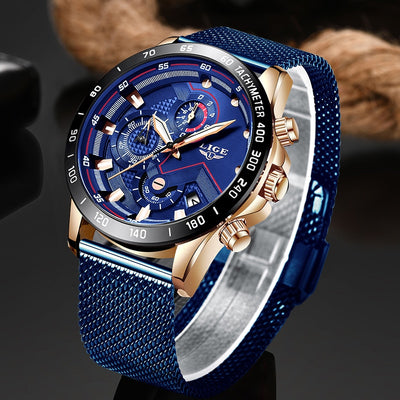 LIGE Fashion Mens Watches Top Brand Luxury WristWatch Quartz Clock Blue Watch-Felligo