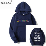 TRAVIS SCOTT ASTROWORLD WISH YOU WERE HERE HOODIES fashion letter ASTROWORLD HOODIE streetwear Man woman Pullover Sweatshirt-Felligo