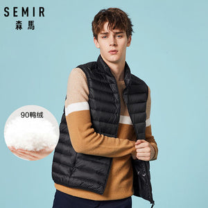 SEMIR Men Packable Puffer Vest with Stand-up Collar Men Padded Vest Lightweight Down Vest for Men Zip-up Vest Winter Clothes-Felligo