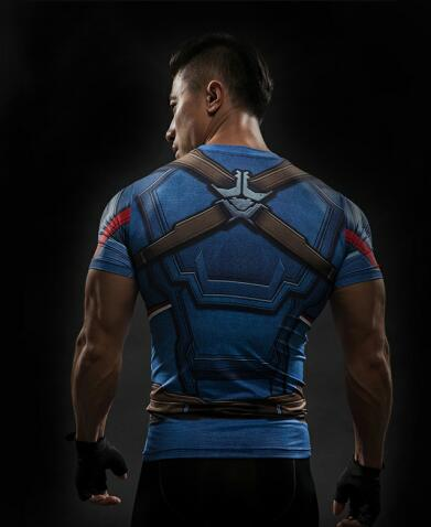 TUNSECHY Short Sleeve 3D T Shirt Men T-Shirt Male Tee Captain America Superman tshirt Men Fitness Compression Shirt Punisher MMA-Felligo