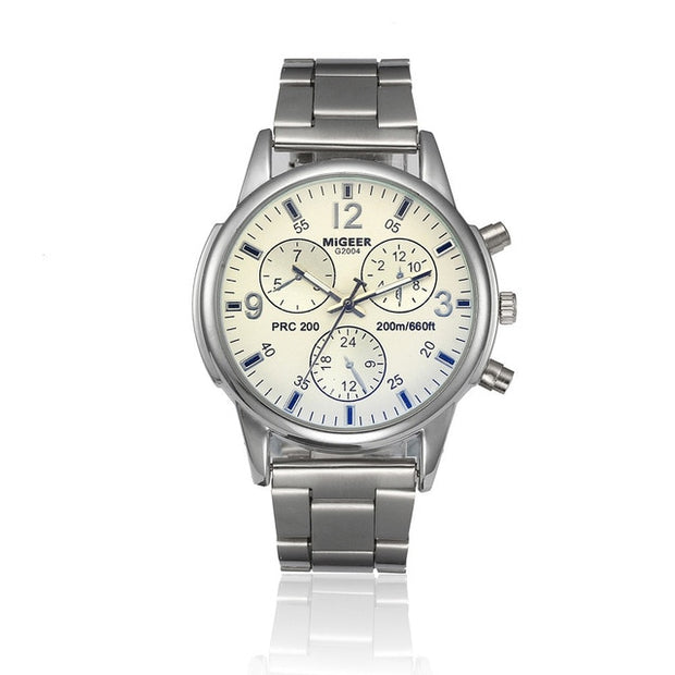 Classic Geneva Silver Fashion Men Watch Crystal Glass Stainless Steel-Felligo