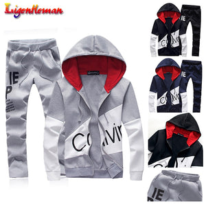 men set letter sportswear sweatsuit Mens 5XL large size sporting suits Tracksuit male sweat track suit jacket hoodie with pants-Felligo