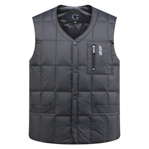 White Duck Down Jacket Vest Men Autumn Winter Warm Sleeveless V-neck Button Down Lightweight Waistcoat Fashion Casual Male Vest-Felligo