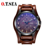2019 Hot Sales O.T.SEA Brand Leather Watch Men Military Sports Quartz Wristwatch-Felligo