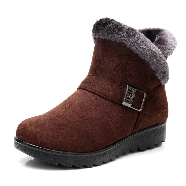 Women Snow Boots Warm Short Fur Plush Winter Ankle Boot Plus Size Platform Ladies Suede Zip Shoes Female Comfort Drop Shipping-Felligo