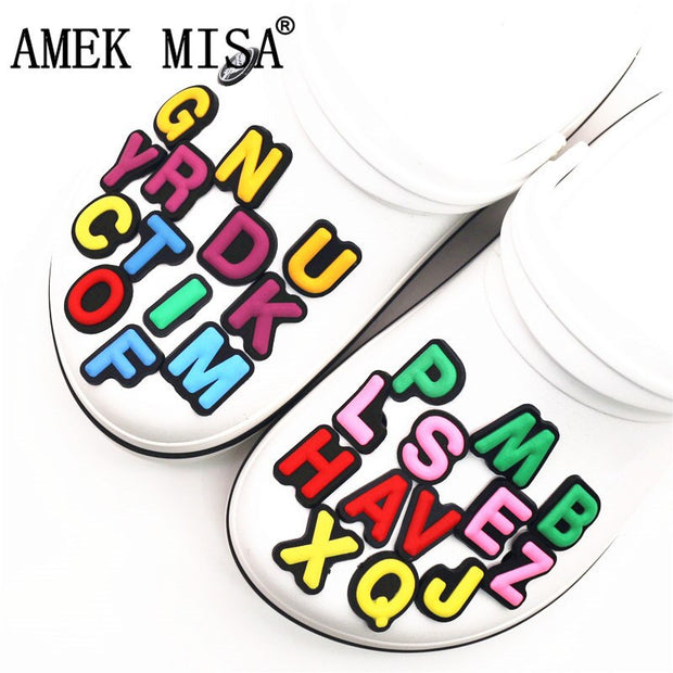 Single Sale 1Pcs Shoe Charms Decoration 26 English Letters Free Combination Shoe Accessories for croc jibz Kid's Party X-mas-Felligo