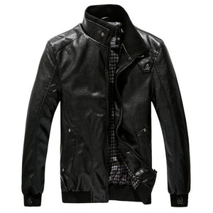 2019 New Fashion Autumn Male Leather Jacket Black Brown Mens Stand Collar Coats Leather Biker Jackets Motorcycle Leather Jacket-Felligo