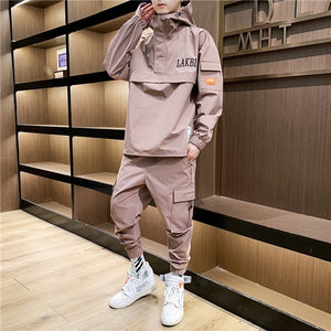 2019 Workwear jacket men's Hooded Jacket+Pants 2PC Sets baseball loose Pullover coat & Long Pants Mens Clothing-Felligo