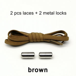 New Elastic No Tie Shoelaces Metal Lock Shoe Laces For Kids and Adult-Felligo