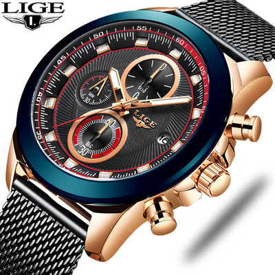 LIGE 2019 Mens Watches Top Brand Luxury Waterproof Fashion Watch-Felligo