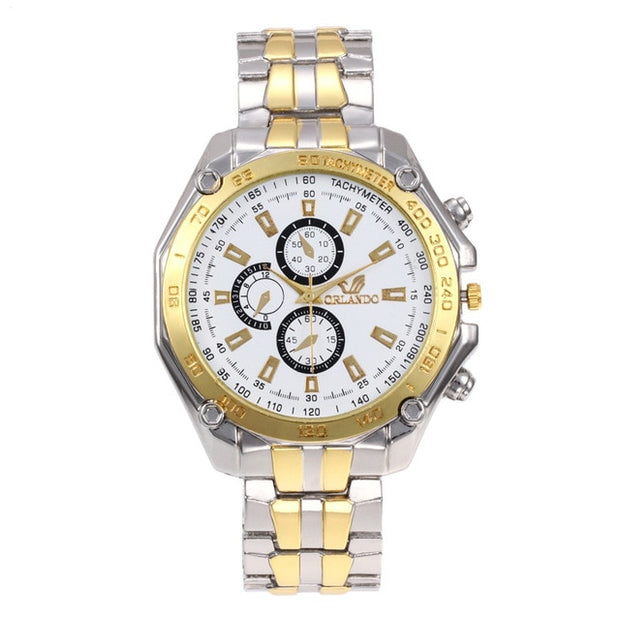 ORLANDO Brand Men Watches Quartz Silver-gold Stainless Steel Wristwatch Male Classic Dress Business Watch masculino Relogio-Felligo